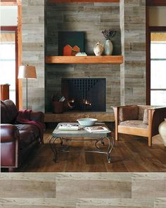 This #WallTileWednesday's feature proves that wood-look porcelain planks are not just for floors! Here our Speakeasy in Zoot Suit offers a stylish alternative to the expected. by crossvilleinc