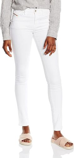 Empfehlenswert  Bekleidung, Damen, Jeanshosen Diesel, Business Outfit, Trends, Pants, Fashion, White Jeans, Clothing, Woman, Gowns