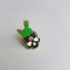 Black Cactus Skull  Hard Enamel Pin by TriangleOfBears on Etsy