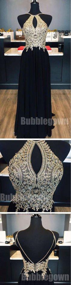 Open Back Beaded Affordable Black Long Evening Prom Dresses, BGP040