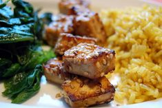 Spinat-Tofupfanne mit Reis nach 5 Elemente Ernährung