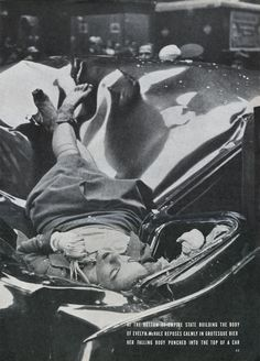most beautiful suicide.  May 1, 1947: Evelyn McHale, 23, commits suicide by jumping from the Empire State Building observation deck. Photographer: Robert Wiles.
