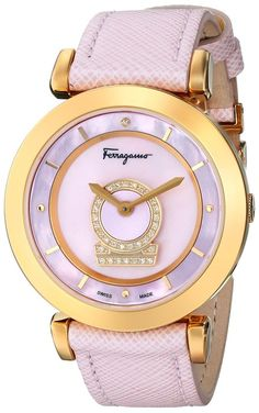 Salvatore Ferragamo Women's FQ4200014 Minuetto Gold Ion-Plated Watch with Pink Leather Band