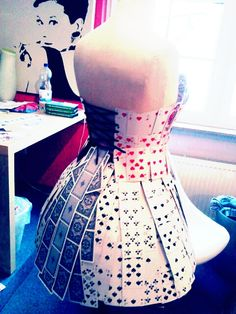 Queen of hearts dress, completely made out of cards by Jaemie Elsasser