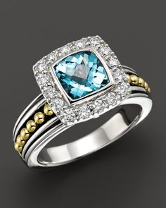 Lagos 18K Gold and Sterling Silver Prism Blue Topaz Ring with Diamonds