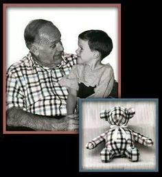 Favorite t shirt of grand parents made into a teddy bear.