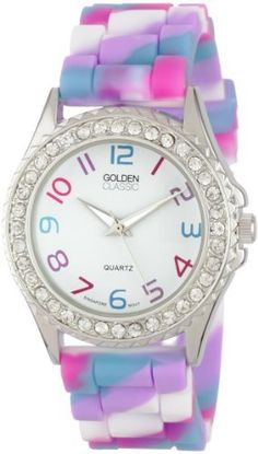 """Golden Classic Women's 2297-C """"Colors Galore"""" Rhinestone Encrusted Bezel Multi-Colored Silicone Watch Golden Classic. $21.45. Highest standard Quartz movement. White dial with multi-colored Arabic numerals; Silver and white hour, minute, and second hands. Water-resistant to 99 feet (30 M) ? not recommended for shower or water use. Silver metal rhinestone encrusted bezel. Multi-colored silicone band with buckle. Save 45%!"""