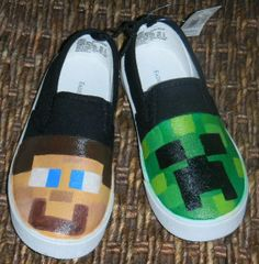 Minecraft shoes Minecraft Shoes, Minecraft Party, Minecraft Stuff, Minecraft Ideas, Funny Shoes, Nerd Room, Cutest Babies Ever, Painted Canvas Shoes, Birthday Diy