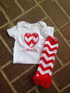 Red chevron Valentine's Day outfit - 1st valentine's day outfit - toddler valentines shirt - custom valentines day shirt