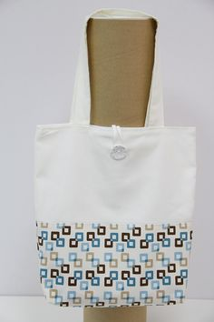 Handmade Shopping Bag, Shopping bag, Tote Bag. Blue and brown squares shopping bag. Squares shopping bag