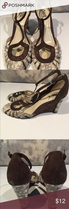 Beautiful Carlos Santana wedges size 8 These are great!!! We have over 30 pairs of shoes to find new homes for!!! These are Carlos Santana size 8. There is a small smudge on the back that can be easily cleaned...priced to sell!!! Carlos Santana Shoes Wedges