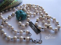 Black and White Long Pearl Necklace with Huge Turquoise Nugget Set in Sterling Silver by Julleen Jewels Long Pearl Necklaces, White Pearl Necklace, Black Necklace, Pearl Jewelry, Pearl White, Gemstone Jewelry, Sea Pearls, Baroque Pearls, Bracelet Set