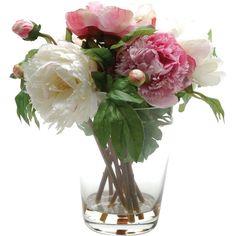 Creative Living 34 cm Artifical Peony Arrangement in Glass Vase,... ($68) ❤ liked on Polyvore