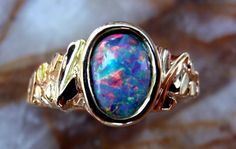 Reserved for Ashley - Australian Opal Ring in 14k with Nugget Design