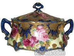 Antique Nippon Porcelain Marks | Nippon Biscuit Jar Roses, Gold Trim