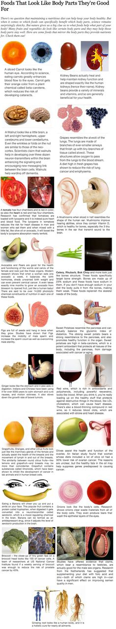 Foods that look like body parts that they're good for. http://fiti-vation.tumblr.com/post/71850167113