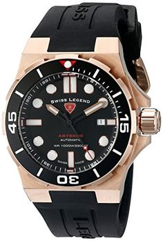 Swiss Legend Abyssos Herren-Armbanduhr 46mm Armband Silikon Schweizer Automatik Datum 10062A-RG-01-SM-RDB - http://uhr.haus/swiss-legend/swiss-legend-abyssos-herren-armbanduhr-46mm-rg-01