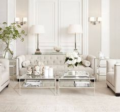 Weiß Wohnzimmer White Living Room Living Room White living room is a design that is very popular today. Design is All White Room, Living Room White, White Rooms, Formal Living Rooms, Home Living Room, Living Room Designs, Living Spaces, Modern Living, Glamour Living Room