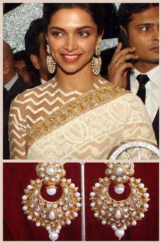 Deepika Padukone in Pearl copper earrings https://www.facebook.com/JhumkhaJewels