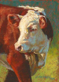 Rita Kirkman's Daily Paintings, pastel cow portrait