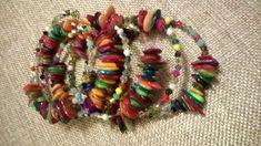 Memory Wire Bracelets, Beaded Bracelets, Wraparound, Shells, Rainbow, Etsy Shop, Jewellery, Boho, Trending Outfits