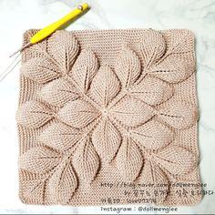 Crochet Women's Hand Bag Shoulder Bag 3 D Leaf Pink Purple Crochet Leaves, Crochet Motifs, Crochet Diagram, Crochet Stitches, Crochet Patterns, Knitting Patterns, Crochet Handbags, Crochet Purses, Crochet Pillow