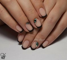 Black dress nails, Black french manicure, Black nails ideas, Elegant nails…
