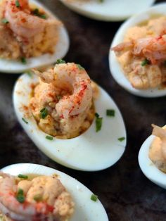 The Crawfish filled Deviled Eggs will be an instant party favorite! Louisianan's favorite seafood in a universal party spread must have. Deviled Eggs With Cream Cheese Recipe, Best Deviled Egg Recipe Ever, Devilled Eggs Recipe Best, Avocado Deviled Eggs, Bacon Deviled Eggs, Recipe Using Hard Boiled Eggs, Avocado Egg Recipes, Hot Sauce Recipes, Yummy Appetizers