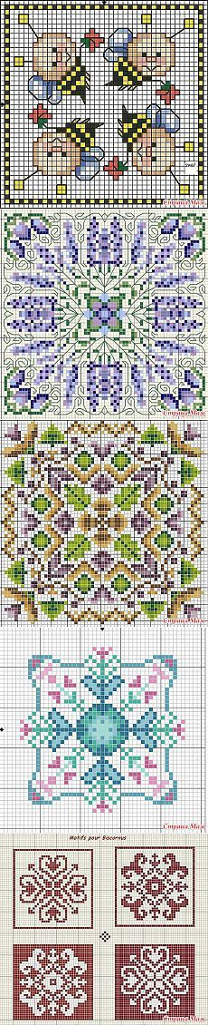 Cross-stitch Assorted Biscornus ... no color chart available, just use pattern chart as your color guide.. or choose your own colors...  Бискорню
