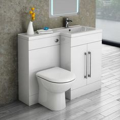 Valencia Bathroom Combination Suite Unit with Basin & Round Toilet - 1100mm