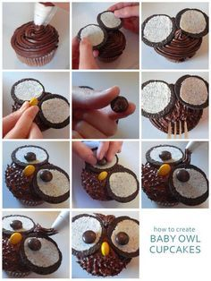 How to Make Owl Cupcakes Tutorial @ Dome. - How to Make Owl Cupcakes Tutorial @ Domestic Mamma - Deco Cupcake, Cupcake Cakes, Fruit Cakes, Oreo Cupcakes, Cake Cookies, Cupcake Recipes, Dessert Recipes, Cute Food, Yummy Food