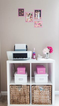 Printer and Shelving in a Dreamy Pink Gold Office