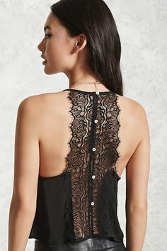 A crinkled satin cami featuring a cropped hem, eyelash lace V-neckline, and a lace-paneled racerback with button closures. Girl Fashion, Fashion Outfits, Womens Fashion, Fairy Clothes, Fashion Details, Fashion Design, Holiday Dresses, Lace Tops, Pulls