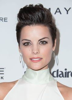 Need short hair inspiration? Turn to Jaimie Alexander's look from the Marie Claire Fresh Faces party. This pompadour is perfect for pixie haircuts. @Marie Claire