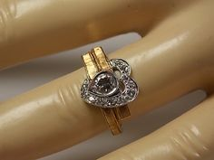 1970s Diamond Heart Ring unique design .47Ctw by estatejewelryshop, $395.00