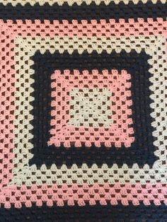 Vintage Afghan Blanket: Concentric Squares in Pink, Blue, and White by HautelAudubon on Etsy https://www.etsy.com/listing/458887710/vintage-afghan-blanket-concentric