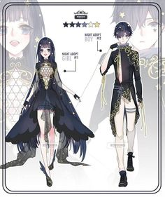 Auction] night adopt ::closed:: by rurucha Komplette Outfits, Anime Outfits, Fashion Design Drawings, Fashion Sketches, Drawing Fashion, Character Outfits, Character Art, Arte Fairy Tail, Drawing Anime Clothes