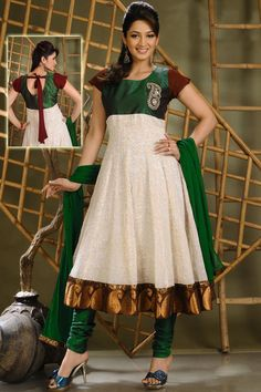 White and green salwar