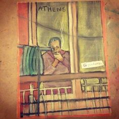 Drawing on book pages: Drawing: Athens (pastel, old book page, 2014)