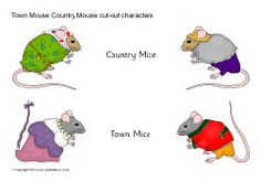 Town Mouse Country Mouse cut-out characters to go with Jan Brett's Book