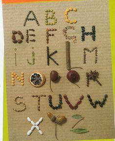 abécédaire graines Preschool Names, Preschool Letters, Alphabet Activities, Nature Letters, Name Writing Practice, Art For Kids, Crafts For Kids, Theme Nature, Activity Room