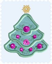 Tiny Tree Free Christmas applique machine embroidery design
