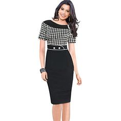 Women's Vintage / Casual / Party Bodycon Dress , Round Neck Knee-length Cotton Blends - USD $ 16.99