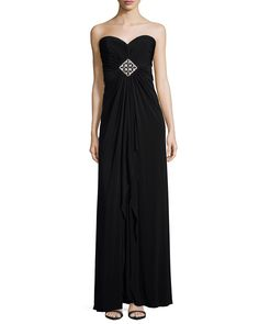 Strapless Sweetheart Jewel-Gathered Gown, Size: 12, Black - Melinda Eng