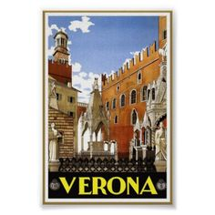 Vintage Verona Italy Art Travel Classic Poster - retro posters classy cool vintage