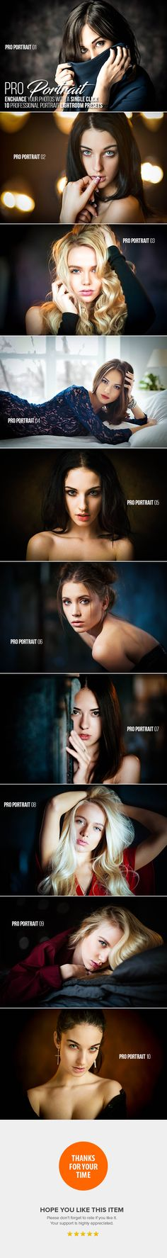 10 Pro Portrait Lightroom Presets. Download here: https://graphicriver.net/item/10-pro-portrait-lightroom-presets/17037020?ref=ksioks