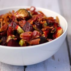 These roasted beets and brussels sprouts with bacon bring new life to two undervalued yet delicious veggies. Pair it with any protein for a hearty dinner!