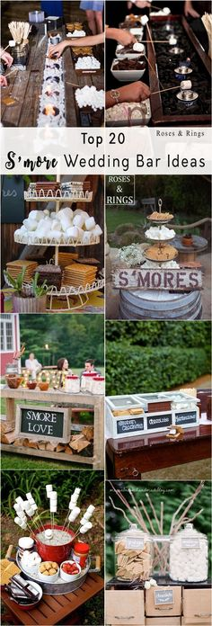 rustic wedding dessert ideas - rustic smores wedding bar ideas #weddings #rusticweddings #weddingideas #countryweddings #weddingreception