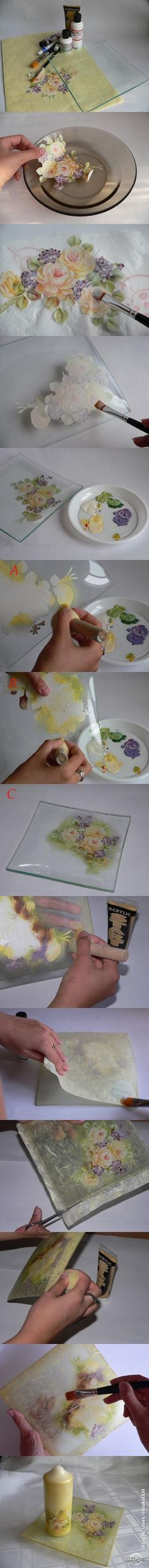 Tutorial decoracion bandeja cristal, tecnica decoupage