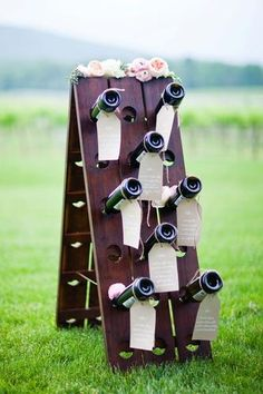 Riddling Rack turned escort board for one of our VA winery weddings. -Karson Butler Events, Natalie Bell Photography